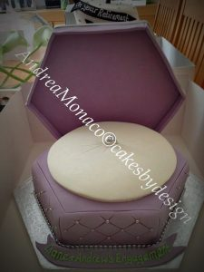 engagement cake of boxed engagement ring